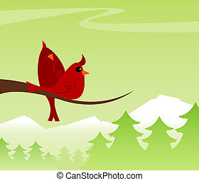Cozy Cardinals - Two red cardinals up high on their limb,...