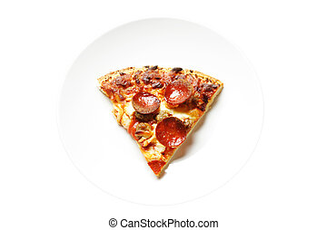 Pizza - A slice of pizza on a white plate (isolated)