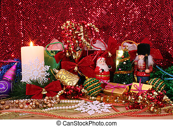 Christmas Ornaments With Gifts on Red Glitter Background
