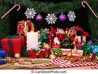 Christmas Display - Christmas Decorations With Gifts and...