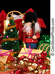 Christmas Gifts and Decorations on Black Background