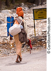 Pilgrim going to source of Ganga river in the North of India