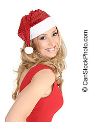 Happy Christmas - Smiling woman celebrating Christmas