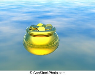 Gold pot with gold 3D - Gold pot with gold Abstract...