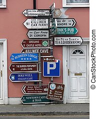 traffic signs - A traffic sign post in Ireland