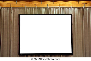 Blank White Screen for Presentation on Stage