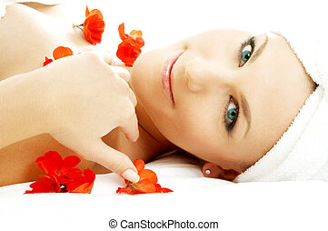 red flower petals spa #3 - beautiful lady with red flower...