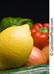 Lemon close-up - Closeup view of a lemon in front of various...
