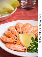 Shrimps plate - Closeup view of shrimps in a plate (shallow...