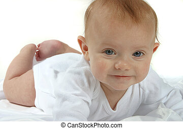 Baby - A baby in white on a white background