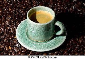Espresso - Small espresso cup on saucer. Demi-tasse....