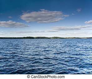 Windy Summer Lake - Windy summer day on a lake, clouds...
