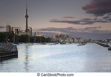 Toronto Harbour - Toronto skyline at dusk. Harbour,...
