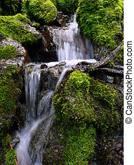 fresh water cascade - fresh and clear water cascade between...