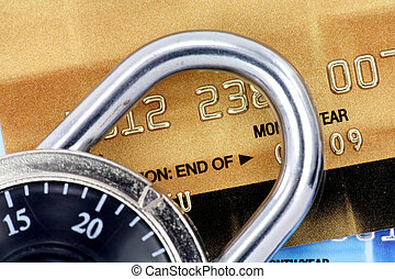 Close up of credit card and lock,  concept of security