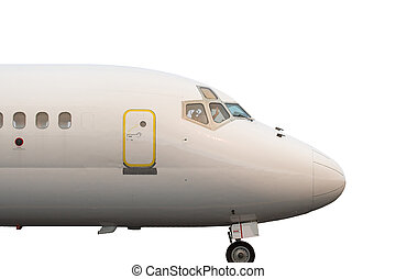 Jetliner Isolated - Close up of the cockpit and exit door of...