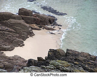 Beach from cliffs - View of Porthcurno,Cornwall,england from...