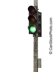 Traffic lights - series: isolated on white: light signal for...