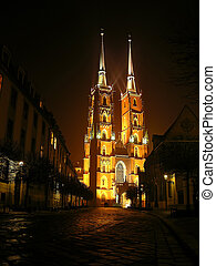 cathedral - wroclaw by night, cathedral in ostrow tumski