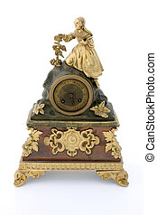 Ancient clock - Ancient bronze table clock, isolated