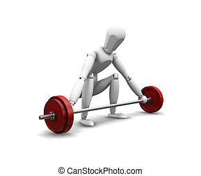 Weight lifting - 3D render of a man weight lifting on a...