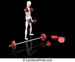 Weight lifting - 3D render of a man weight lifting on black...