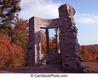 Gatineau park - tree; fall; sunny day; mountain; ruin;...