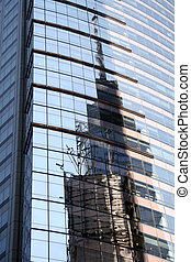 New York Building Reflection - New York City Tower Building...