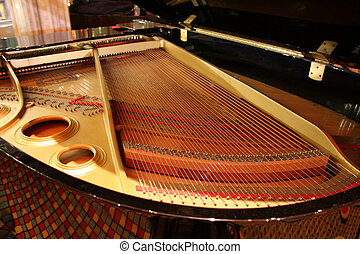 Inside of Grand Piano with Strings and Gold Trim