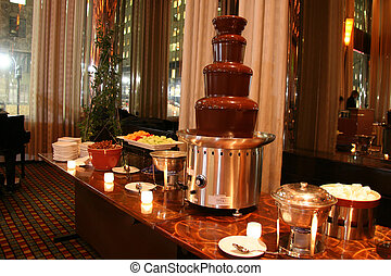 Chocolate Fondue Station on a Buffet Line