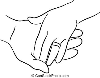 touching hands - simple line drawing of two hands touching...