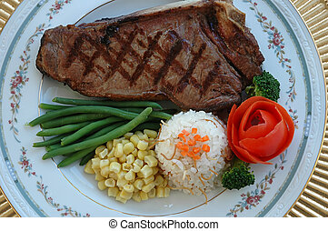 Steak - steak, carrots, tomatoes, green beans, rice pilaf,...
