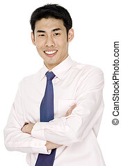Businessman In Pink - A young asian businessman in pink...