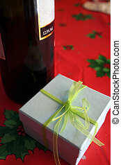 celebration - Christmas celebration with good wine and gift...