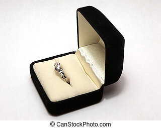 Wedding Ring - Photo of a diamond wedding ring in a ring box...