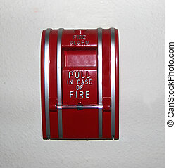 Fire Alarm - Photo of a hand pull fire alarm isolated on a...