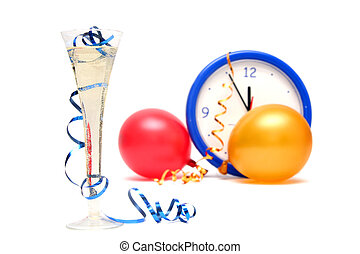 Colorful New Years Eve - Colorful balloons and clock on a...