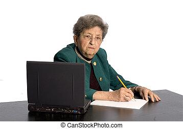 senior office executive - inquisitive senior citizen office...