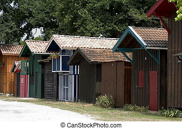 Cabins in Biganos, France - Colorful cabins in the port of...