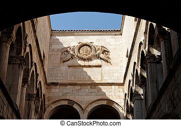 Cloister inside of a church in Dubrovnik, Croatia