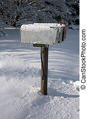 Icy Mail Boxes - Icy Mailboxes taken in Rural Illinois after...