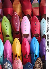 Arabic shoes - Colorful aligned shoes in arabic shop