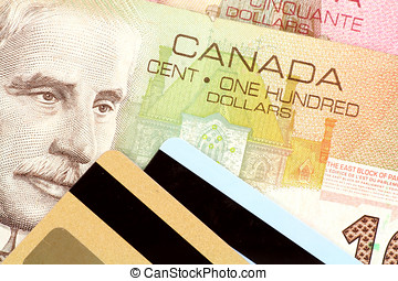 Credit card and canadian dollar, concept of finance