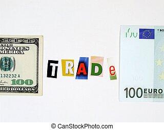 Europe and USA trade concept - Conceptual photo of European...