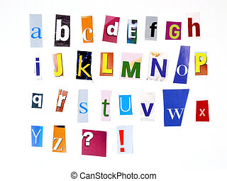 Magazine cuttings diverse ABC - Alphabet made of newspaper...