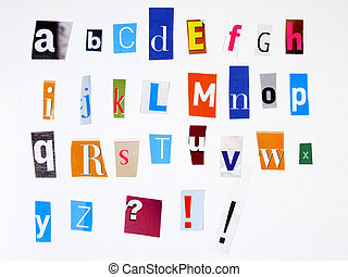 Colorful alphabet made of magazine cuttings - Alphabet made...