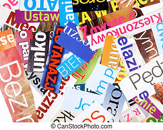 Magazine cuttings - incomplete words - Colorful magazine and...