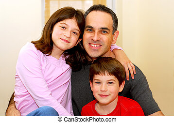 Family portrait - Portrait of a father with two children