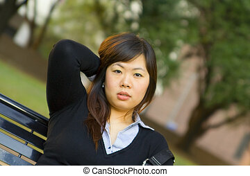 Close Up Young Asian Girl Soft Focus