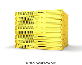 Golden 19inch Server - 3D rendered Illustration